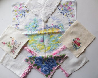 Handkerchiefs // Lot of 7 // Embroidery, Lace, Commemorative Floral