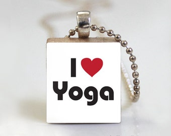 YOGA Namaste Scrabble Pendant Necklace with Free Ball Chain Necklace or Key Ring
