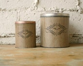 Vintage Pair Canisters, 1960s Retro Faux Wood Metal Brown Kitchen Canister Set, Copper Finish Flour, Sugar, Coffee, or Tea Cans