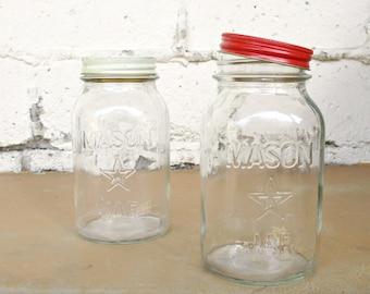 Vintage Mason Jars, White Red Lid Canning Storage Jars, Set Old Glass Pantry Display