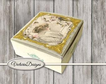 Vintage Women Mini Box printable diy paper crafting crafts soap box gift box digital download digital collage sheet - VDBXVI1359