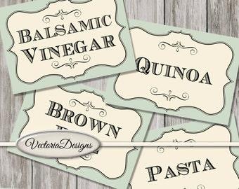 42 Pantry Labels Jar Labels kitchen organization add text instant download printable images digital collage sheet - VD0781