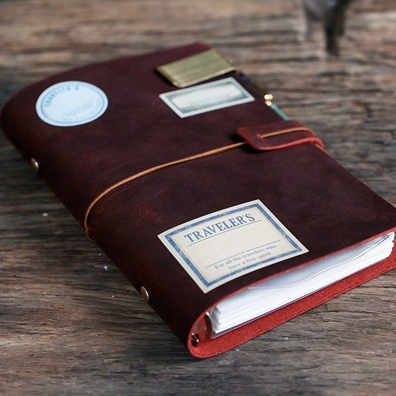 Genuine Dark Red Leather Notebook/ring Binder By Dokkipaper