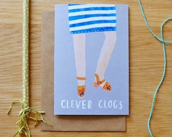 Illustrated Clever Clogs Card