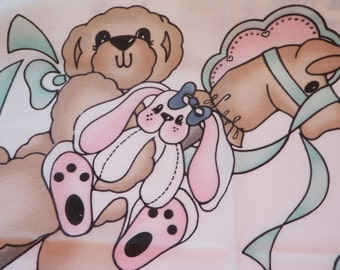 Vintage Daisy Kingdom Applique Fabric Panel No Sew Bears Bunny Hobby Horse F6311SP 1990s