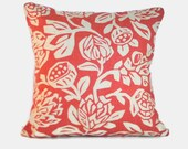 Decorative pillow cushion cover in coral pink and tan. 1 covers for 20x20 pillow insert. Floral tropical pillow shabby chic cottage decor