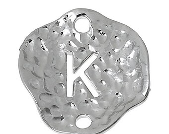 "5 Silver letter K connector Charms, Monogram K Charms, Alphabet K, hammered metal, 1/2"" diameter, domed connector links, findings, chs2258"