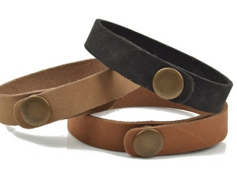 "LEATHER CUFF Bracelet Blanks Sample Pack, 1/2"" wide, 6 leather bracelet cuffs, brass snaps, black, camel brown, tan, Lth0001"