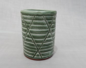 Pottery Cup - Green Glazed Terracotta Tumbler