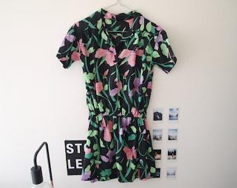 Vintage Retro Floral Print Top Dress