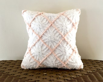 PEACH LATTICE vintage chenille pillow cover, cottage chic cushion cover, shabby style pillow case, pale apricot pillow sham, textured pillow