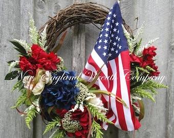 SUPER SALE Patriotic Wreath, Americana Wreath, Fourth of July Wreath, Memorial Day, Elegant Patriotic, Floral Wreath, Designer Wreath, Tea S