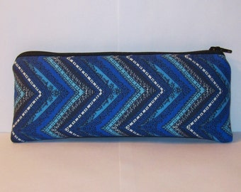 "Pipe Pouch, Pipe Case, Blue Chevron Bag, Glass Pipe Bag, Glass Chillum Cozy, Vape Pen Case, Padded Pouch, Stoner Gift, 420 Bag - 7.5"" LARGE"