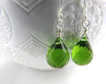 Green Earrings Sterling Silver Earrings and Peridot green quartz gemstone tear drop dainty earrings