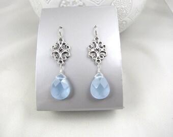 chalcedony earrings blue gemstone and silver teardrop dangle earrings bridesmaids gift wedding jewelry wedding earrings sky blue earrings