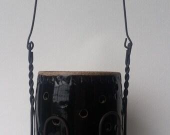 Wheel Thrown Stoneware Pottery Luminary, Patio Light, Garden Light, Tea Light, Wire Canning Holder, Glossy Black