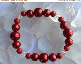 "On Sale For You Red Glass Pearls and Crystal Bracelet 7 1/2"".  Christmas Red"
