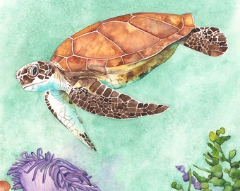 Sea Turtle watercolour painting Original watercolor painting, contemporary coastal watercolor painting, Original sea turtle painting