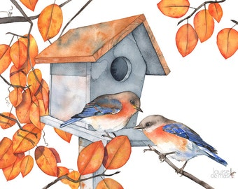 Bluebird print, bluebirds print, bluebird fall print, bluebird birdhouse print, bluebird watercolor painting print, A3 size, BB14716
