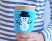 SALE  Snowman Coffee Cozy, Winter, Discount