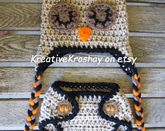 Sleepy Time Owl Diaper Cover & Hat Set  (Newborn - 3 months / 3-6 month sizes)