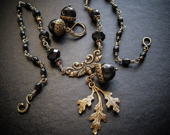 The Oak King's Bride Black Acorn & Brass Rosary Necklace and Earrings Set. Handfasting