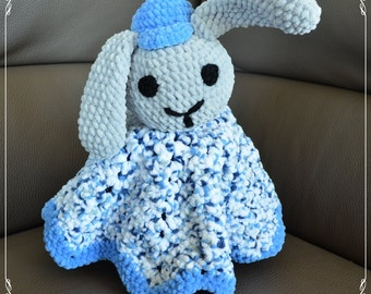 Knitted baby blanket, bunny rabbit - boy, toy.