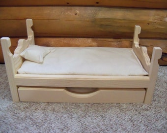 Wooden Trundle Bed made for 18 inch dolls American Girl, 6 pc furniture set includes 2 pillows & 2 mattresses