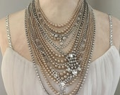 Rhinestone Statement Bib Necklace - Unique Repurposed Rhinestone Pearl Bridal Necklace - Vintage Clear Rhinestone Jewelry - JryenDesigns