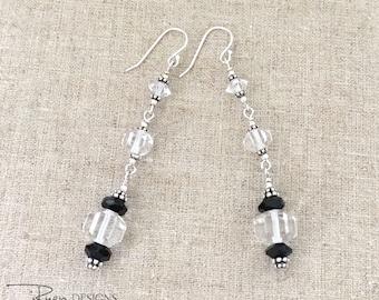 Vintage Repurposed Crystal Earrings - Art Deco Rock Crystal Earrings - Dangle Earrings - Repurposed Jewelry