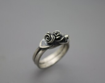 Silver Rose Ring, Silver Bouquet Ring, Rose Jewelry, Silver Rose, Rose Garden Ring, Rose Garden Jewelry, Bouquet Ring, Flower Jewelry