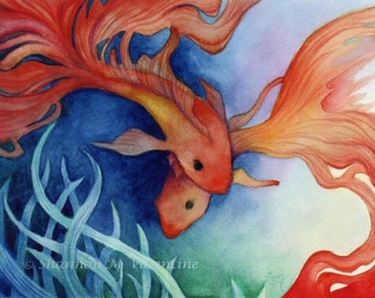 "Fantasy Art Print ""Koi Dream"" Gold Fish Painting"