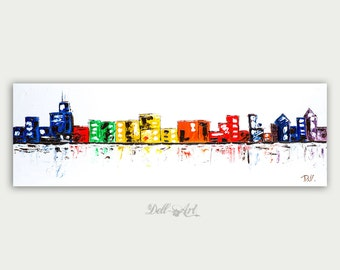 Colorful Chicago Painting Original  Abstract modern art Cityscape