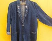 on sale Vintage Clothing/Jacket/Blazer/Rocker/Extra Long/Denim Jacket/Embellished/Oversized/80s Jacket/90s/Bling/Bedazzled