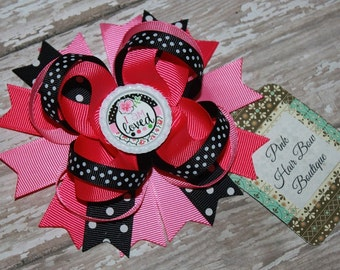 Spring Hair Bow - Cute Boutique Hair Bow - 5 inch Hair Bow - pink and black Hair bow - I'm loved boutique Bow -  Spring Hair Bow