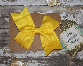 Yellow hair bow , Hair bow for toddlers , hair bows for girls , hair bows , yellow hair bow