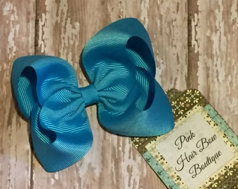 Turquoise boutique hair bow