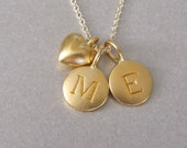 2 Gold Initial & Mini Heart Charm Necklace - Personalized Jewelry - Initial Necklace