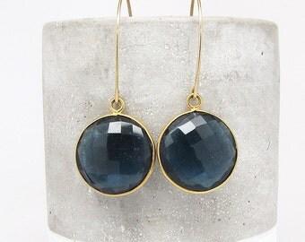 Navy Blue Quartz Earrings