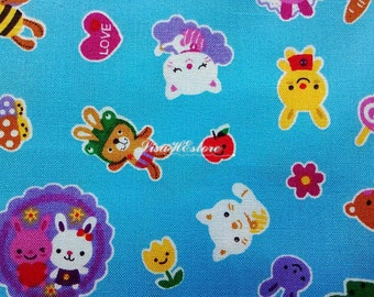 SALE - Cute animals, blue, 1/2 yard, pure cotton fabric