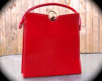 Vintage Purse 1960s 1970s Retro Vintage Red Vinyl Handbag Vegan Friendly Faux Leather Bag Mid Century accessory