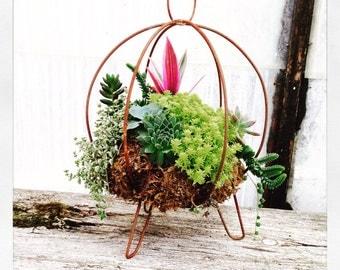 Rustic Metal Succulent Planter Orb - Hanging or Standing - Indoor or Outdoor - 8x8 Geometric Table Centerpiece