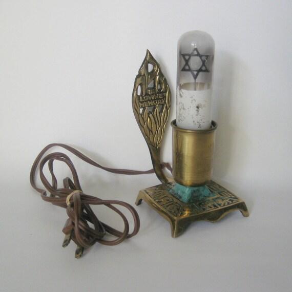 Vintage Brass Jewish Memorial Lamp Yahrzeit Memorial Lamp