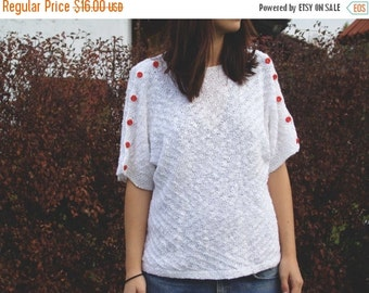 SALE Vintage 80's Knitted Short Sleeve Blouse with Red Buttons