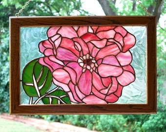 O'Keefe Style Stained Glass Flower in PInk