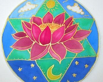 Pink lotus Mandala art,spiritual gift, heart chakra, lotus art, star mandala, star of david, pink lotus, spiritual , meditation , reiki, yog