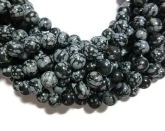 Black Snowflake Obsidian - 8mm Round Bead - Full Strand - 47 beads