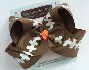 "Football bow, football hairbow -- choose your team color for center, 4-5"" or 6-7"" bow"