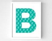 Printable initial B, Printable art, Personalized art, Set of 5, Digital download print, Art print, Geometric, Printables, Wall art, Nursery