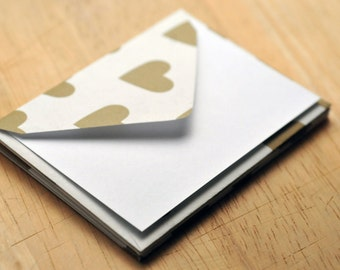 Gold Heart Mini Cards // Set of 4 // Blank Cards // Enclosure Cards // Love Note // Advice Cards // Gift Card Envelope // Bridal Shower